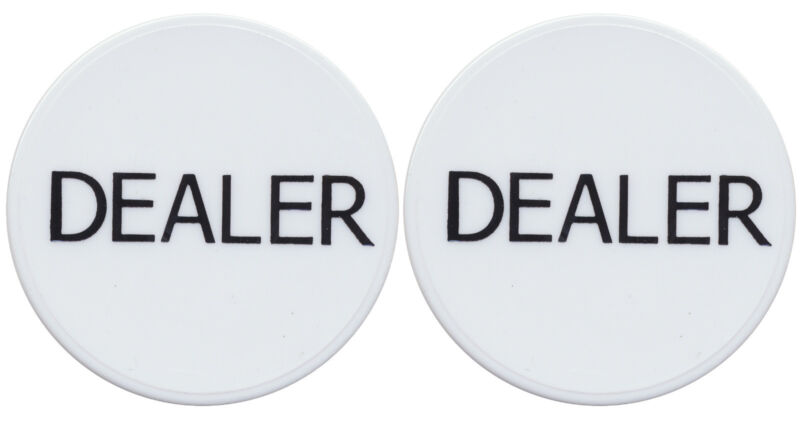 "NEW 2 WHITE 2"" DEALER BUTTONS TEXAS HOLDEM POKER CASINO Style Tournaments  *"