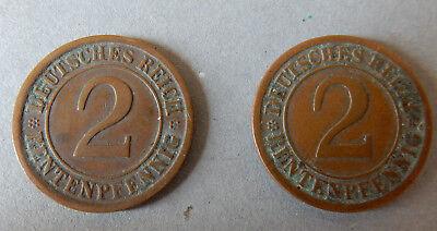 2 Münzen, Deutsches Reich 2 Rentenpfennig, A 1923 und 1924, Dachbodenfund