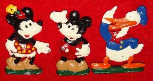 3 Vintage Lead Metal Walt Disney Figures - Mickey Mouse / Minnie & Donald Duck