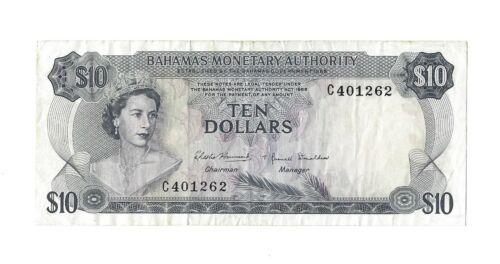 1968 BAHAMAS $10 Dollars, P-30 Monetary Authority, 100% Original VF, Scarce QEII