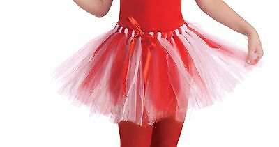 Candy Cane Tutu Halloween Christmas Child Costume Accessory, Red/White