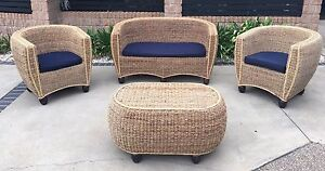 Tub chair style cane wicker sea grass outdoor lounge setting Dicky Beach Caloundra Area Preview