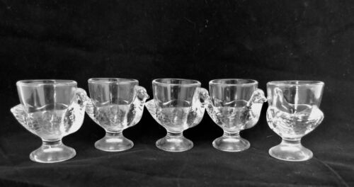 SET OF 5 CLEAR GLASS FRANCE CHICKEN HEN EGG CUPS