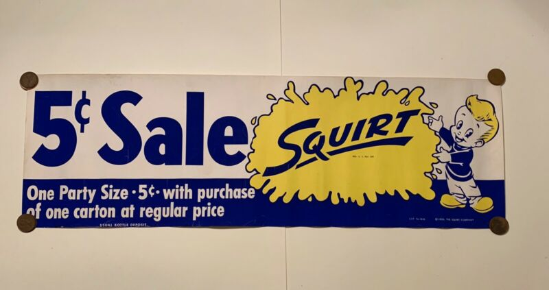Vintage Original Squirt Soda 1956 Paper Advertising Sign