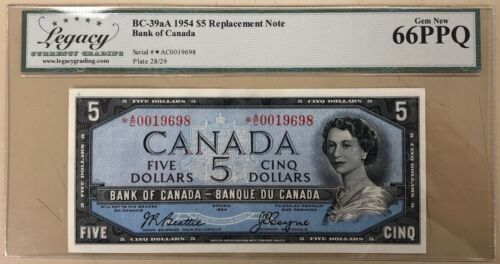 1954 Bank of Canada $5 Replacement - Legacy Gem New 66PPQ - S/N: *A/C0019698