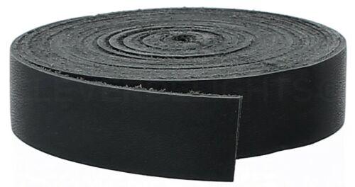 "1"" Black Leather Strap - 15 Feet - 25mm Genuine Cowhide Leather Strip"