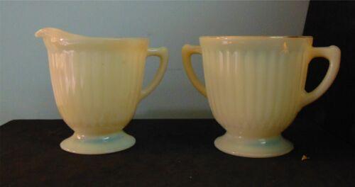 Macbeth-Evans Petalware Cream-Colored (Cremax) Pedestal Creamer & Sugar