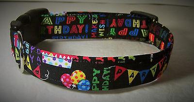 Balloons Dog Collar Collars (Wet Nose Designs Happy Birthday Dog Collar Party Celebration Cake Balloons Black )