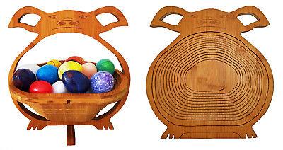 MAIALE CIOTOLA CESTINO PIEGHEVOLE CESTO 30x30cm di frutta legno sottobicchieri