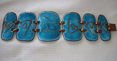 Vintage Kay Denning Statement Bracelet Bright Turquoise Enamel Panels signed