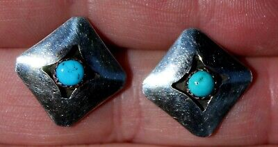 Beautiful Navajo Sterling Silver & Turquoise Stone Diamond Shaped Post Earrings