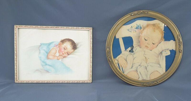 Vintage Baby Pictures Framed Pastel Print Sleeping Baby Nursery Kids Room ~ 2