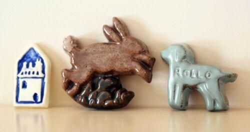 Moravian Tile Mercer Art Pottery Rabbit / 3 Piece Lot / NEW