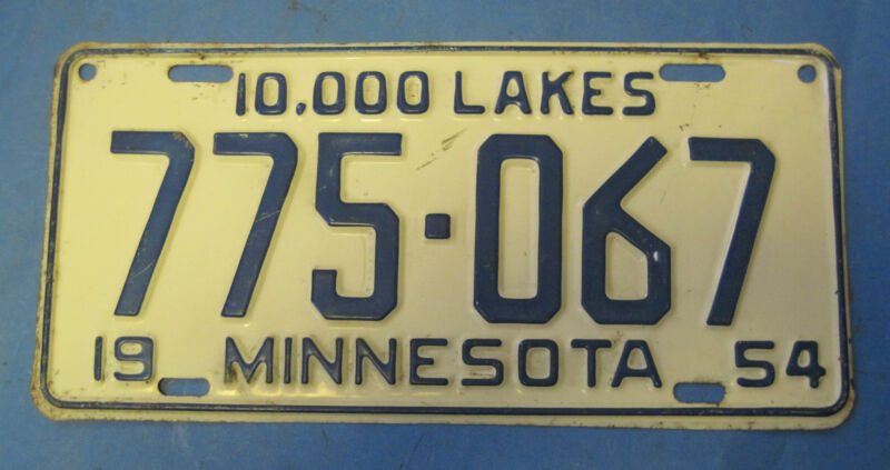 1954 Minnesota License Plate high quality
