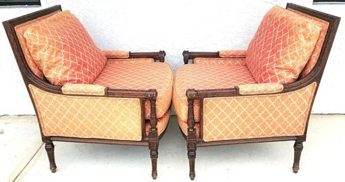 Vintage Pair of Hand Carved Carved Mahogany Bergere Lounge Chairs by WOODMARK