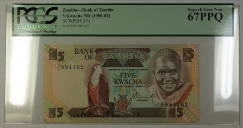 (1980-81) No Date Bank of Zambia 5 Kwacha Note SCWPM# 25a PCGS Superb Gem 67 PPQ
