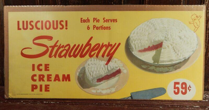 Vtg Strawberry Ice Cream Pie Litho Poster Rare Advertising Brown Blodgett USA