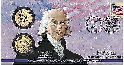 1 First Day Coin Cover (2007 James Madison $1 First Day Issue Coin Cover (P24) OMP Denver & Philadelphia )