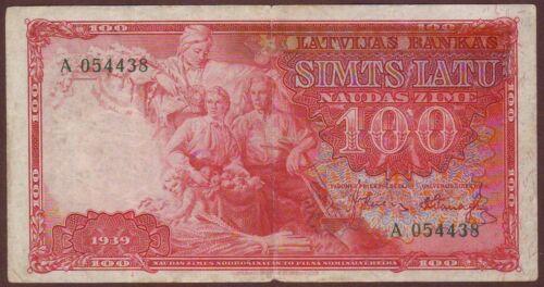 LATVIA  100 Latu 1939