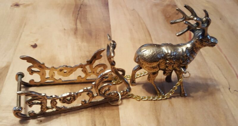 Vintage Brass Reindeer and Sleigh--Mint Condition