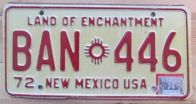 New Mexico 1974 License Plate NICE QUALITY # (Mexico Ban)