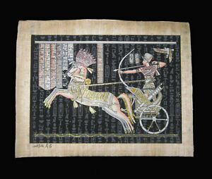 Egyptian-Papyrus-genuine-hand-painted-Black-glitter-Ramses-in-battle-43x33cm
