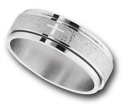 Spinning Stainless Steel Ring Our Father Lords Prayer in Spanish Size 7-15