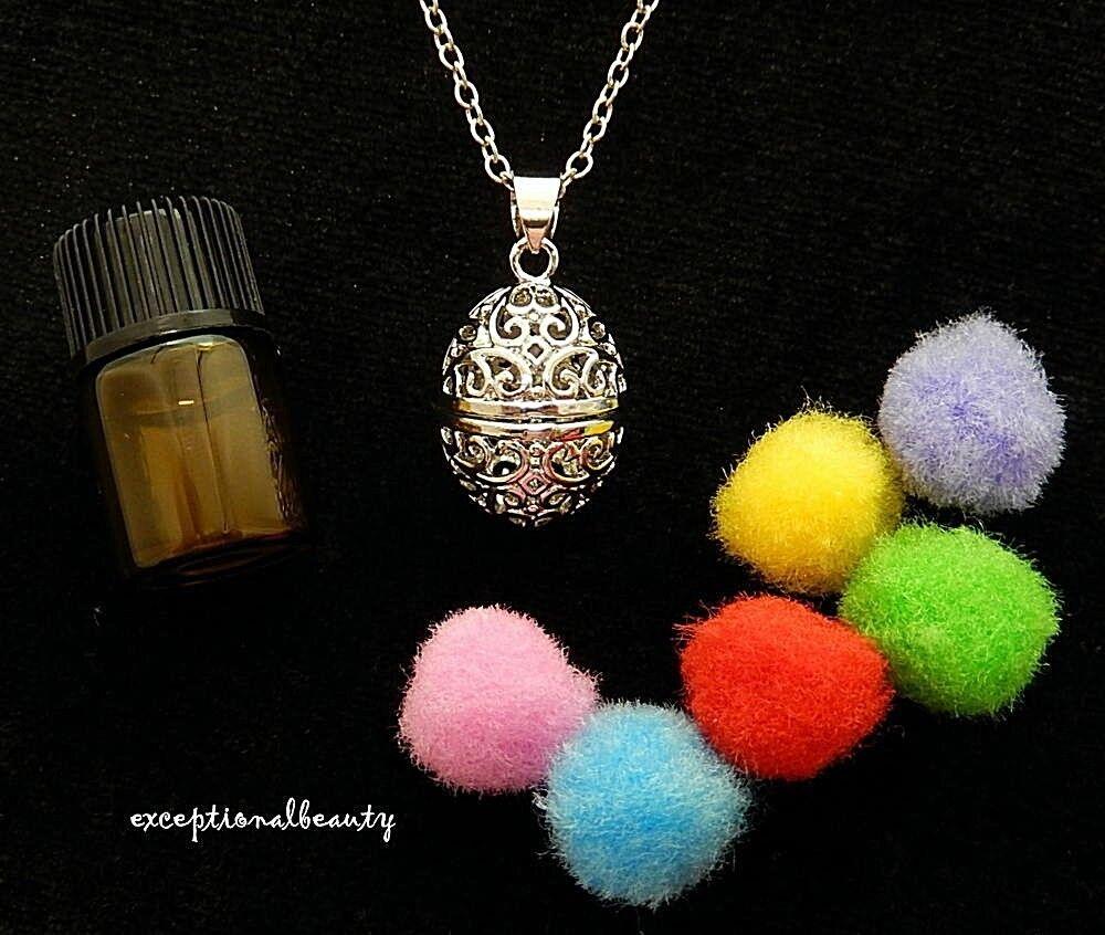 Silver Filigree Egg Diffuser Aromatherapy Perfume Locket Nec
