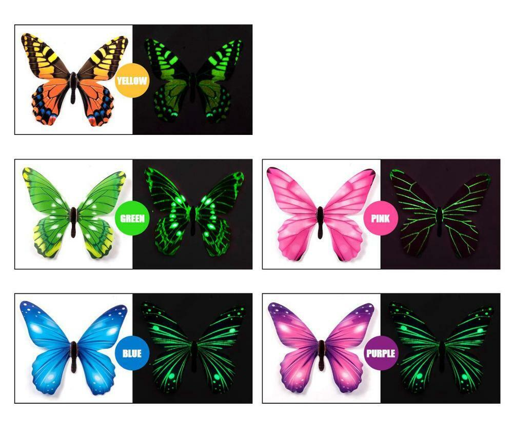 Home Decoration - 12pcs Luminous Butterfly Design Decal Art Wall Stickers Room Magnetic Home Decor