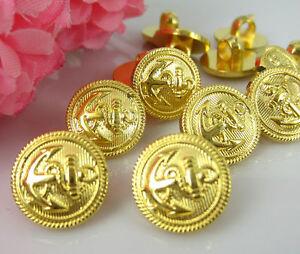 10 Marine Knöpfe mit Anker aus Acryl.Farbe Gold ca.13 mm Rund.Leicht.
