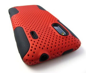 RED PERFORATED HARD SOFT SKIN HYBRID CASE COVER HTC EVO DESIGN 4G HERO S
