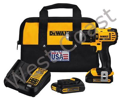 New DEWALT DCD785C2 20V MAX Cordless Compact Hammer Drill/Driver Kit 2 Batteries