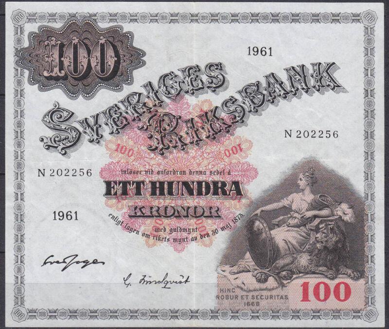 Sweden - Sveriges 100 Kronor 1961 VF    (11483