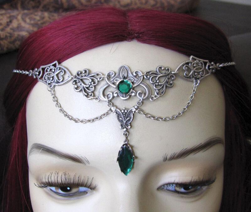 Gothic Victorian Headpiece Headdress Crown Circlet Renaissance Silver Jewelry