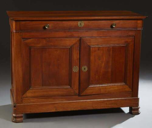 Antique French Louis Philippe Carved Cherry Sideboard Chest Cabinet Commode