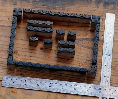 Letterpress Border Wooden Printing Blocks Ornaments Art Nouveau Wood Deco Old
