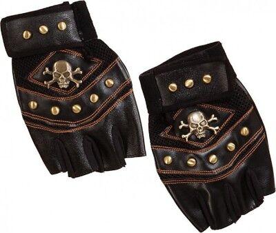 Damen Kunstleder Nieten Fingerlose Biker Piratenkostüm Handschuhe
