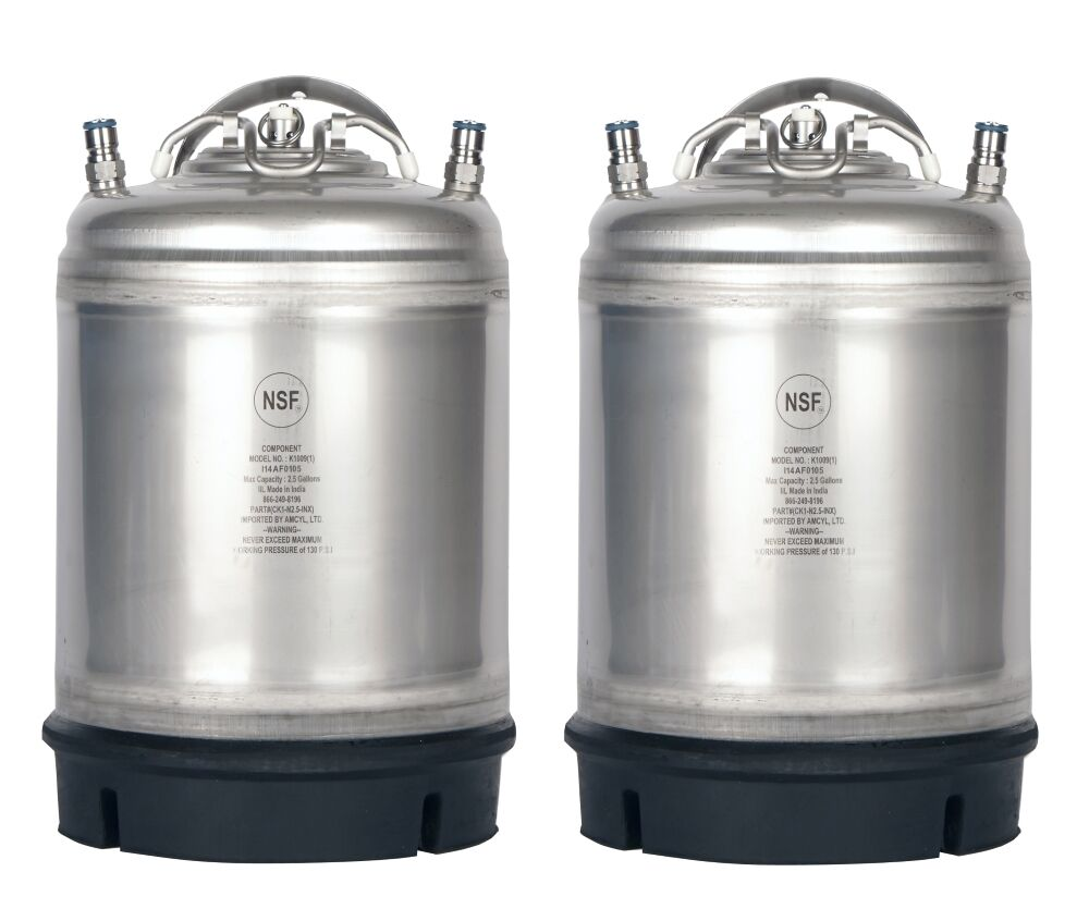 2 Pk New 2.5 Gallon Ball Lock Kegs Homebrew - Beer - Cold Br