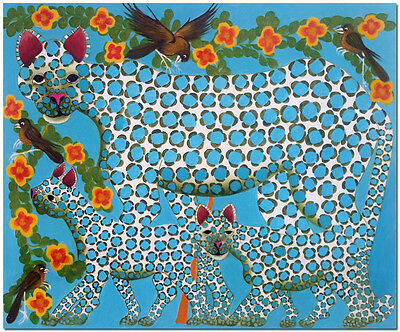 African Tingatinga Art Of Leopard  Hand Painted Cheetah Oil Painting On Canvas