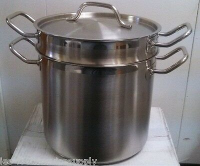 8 QT. DOUBLE BOILER 18/8 STAINLESS INDUCTION READY - COMMERCIAL QUALITY POT