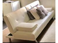 Sofa bed LIKE NEW & 2 CREAM bar stools