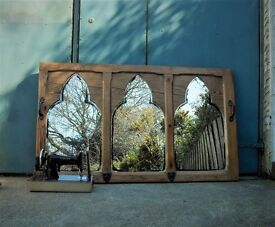"Unusual Antique pine large Gothic triple mirror 37.5 x 64"" Chapel reclaim...."