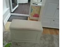 Large white wooden otterman/ chest with seat
