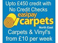 Carpets and Vinyl's from £10 per week. No Credit Checks
