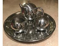 Stainless Steel Henley Teapot, Sugar bowl, milk jug and tray immaculate