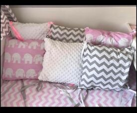 Baby girls pink grey and white cot Bumpers