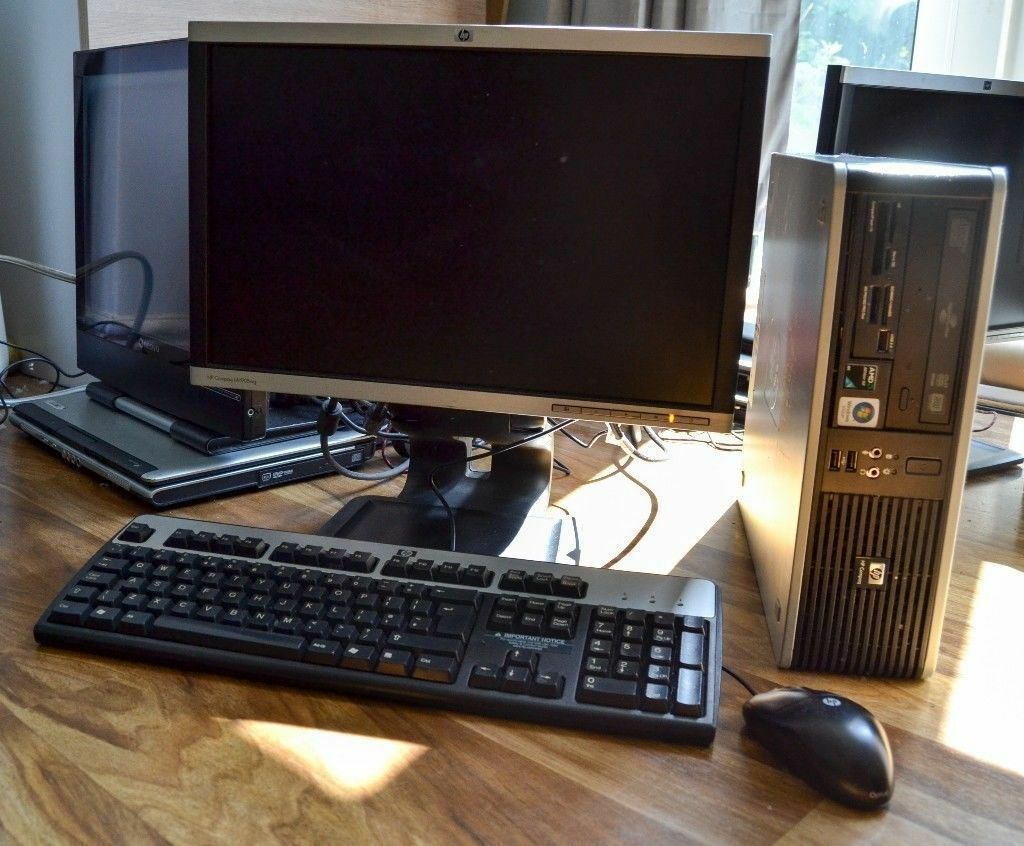 Full Hp Desktop Pc Setup Sff Windows 7 With 19 Lcd Monitor Keyboard