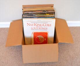 Job lot box of various vinyl records in original cardboard sleeves. Full list in description