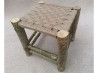 HANDMADE FOOTSTOOL with woven top