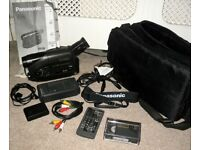 Panasonic NV-R50B VHS-C Mono Camcorder +Remote Power Supply AV Lead Tape Battery